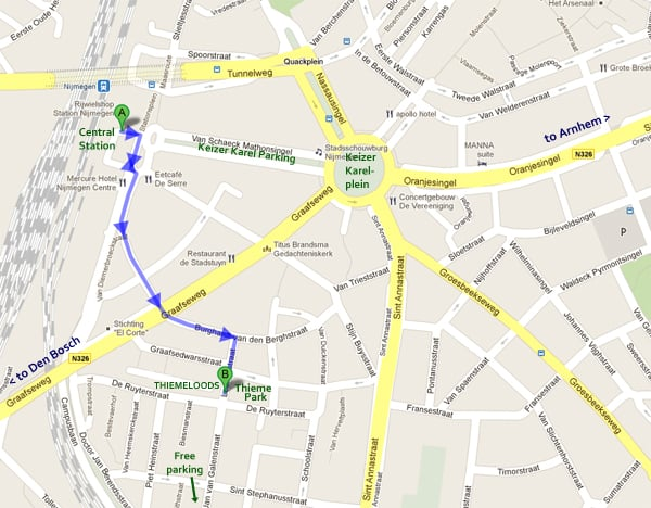 Thiemeloods: map and route